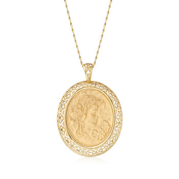Italian 14kt Yellow Gold Cameo-Inspired Pendant Necklace