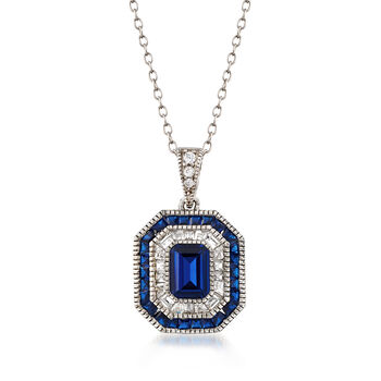 Simulated Sapphire, .52ct t.w. CZ Pendant Necklace in Silver
