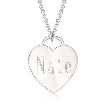 Sterling Silver Personalized Name Heart Pendant Necklace
