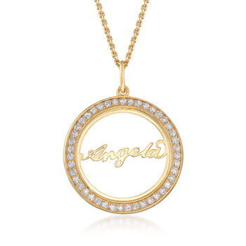.40ct t.w. CZ Personalized Name Pendant Necklace in Gold Over Silver