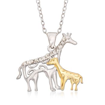 .10ct t.w. Diamond Mother Giraffe, Baby Pendant Necklace, Gold Over Sterling