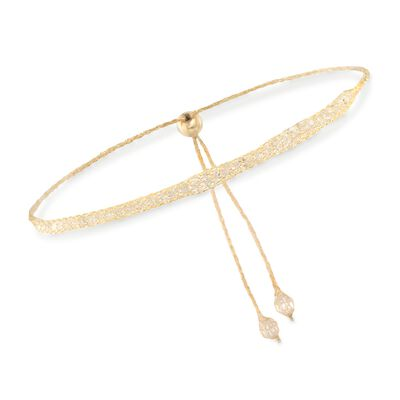 Italian 3.00 ct. t.w. CZ Mesh Bolo Bracelet in 14kt Yellow Gold