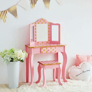 http://www.ross-simons.com - Child's Pink, Gold Polka Dot Gisele Vanity Table, Stool Set, Mirror