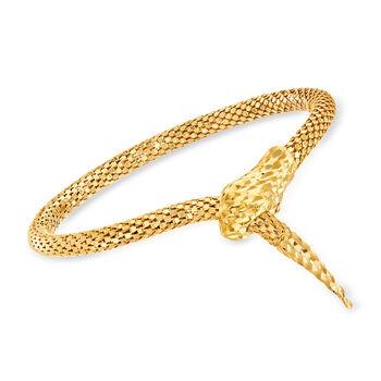 http://www.ross-simons.com - Italian 18kt Gold Over Sterling Silver Diamond-Cut Snake Bracelet