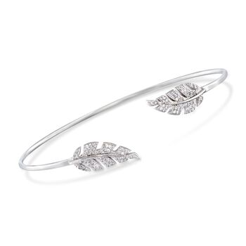 http://www.ross-simons.com - .43 ct. t.w. CZ Leaf Cuff Bracelet in Sterling Silver