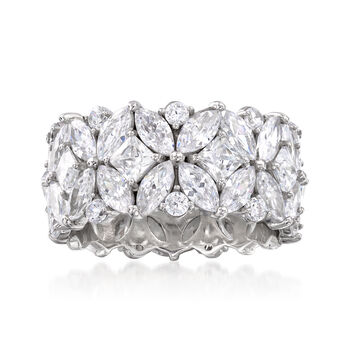 http://www.ross-simons.com - 7.30 ct. t.w. Multi-Shaped CZ Eternity Band in Sterling Silver