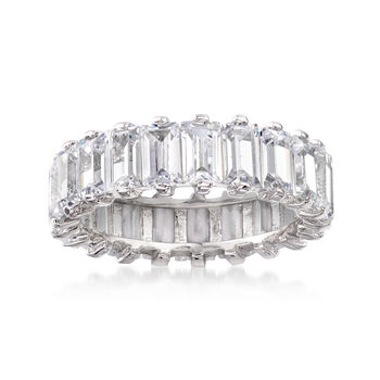 http://www.ross-simons.com - 5.51 ct. t.w. Baguette CZ Eternity Band in Sterling Silver