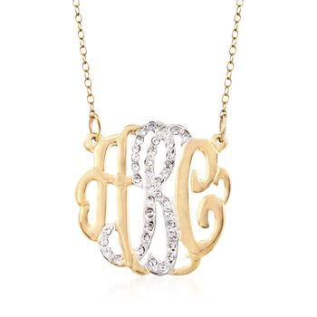 http://www.ross-simons.com - .15 ct. t.w. CZ Monogram Pendant Necklace in Two-Tone Sterling Silver