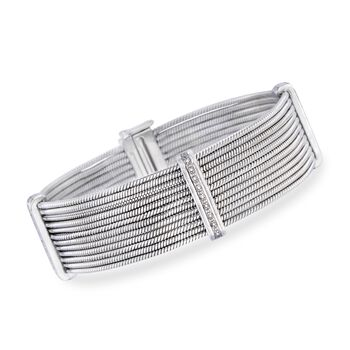 http://www.ross-simons.com - Stainless Steel, Silver Multi-Row Cable Bracelet, Diamond Accents