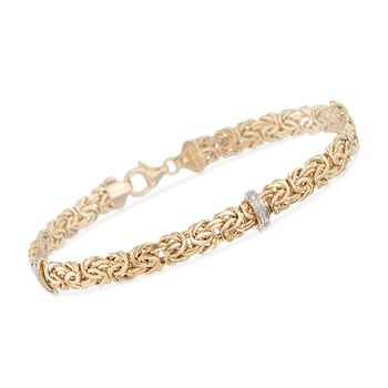 http://www.ross-simons.com - 14kt Yellow Gold Byzantine Bracelet with Diamond-Accented Stations