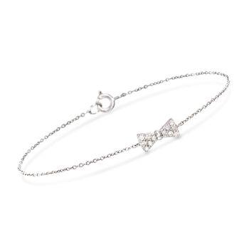 http://www.ross-simons.com - .18 ct. t.w. Diamond Bow Tie Bracelet in Sterling Silver