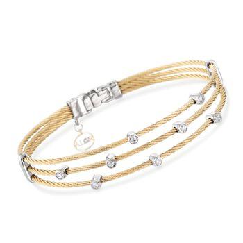 """http://www.ross-simons.com - ALOR """"Classique"""" .18ct t.w. Diamond Yellow Cable Bracelet, Gold"""