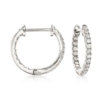 http://www.ross-simons.com - .20ct t.w. Diamond Inside-Outside Huggie Hoop Earrings in Gold