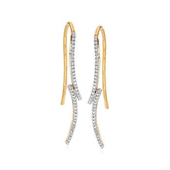 http://www.ross-simons.com - .10 ct. t.w. Diamond Curve Earrings in 14kt Yellow Gold