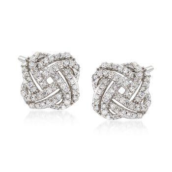 http://www.ross-simons.com - .33ct t.w. Diamond Squared Love Knot Stud Earrings in 14kt White Gold