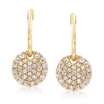 http://www.ross-simons.com - Gabriel Designs .49ct t.w. Diamond Hoop Drop Earrings in Gold