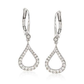 http://www.ross-simons.com - Gabriel Designs .30ct t.w. Diamond Open Teardrop Earrings in Gold
