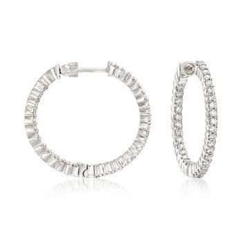 http://www.ross-simons.com - Gabriel Designs 1.05ct t.w. Diamond Inside-Outside Hoop Earrings