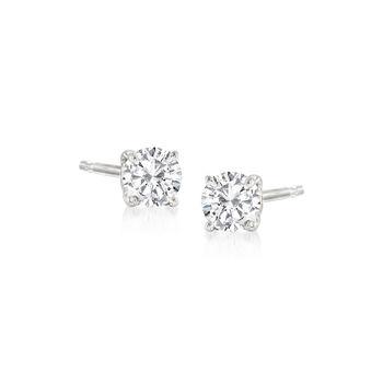 http://www.ross-simons.com - .20 ct. t.w. Diamond Stud Earrings in 14kt White Gold