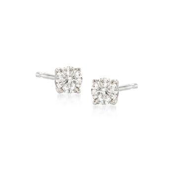 http://www.ross-simons.com - .15 ct. t.w. Diamond Stud Earrings in 14kt White Gold