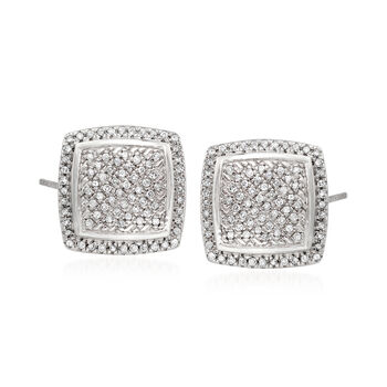http://www.ross-simons.com - .23 ct. t.w. Pave Diamond Square Earrings in Sterling Silver