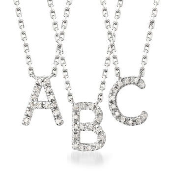 http://www.ross-simons.com - Diamond-Accented Initial Necklace in Sterling Silver
