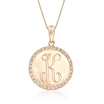 http://www.ross-simons.com - .10ct t.w. Diamond Single Initial Circle Pendant Necklace in Gold