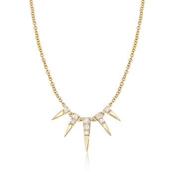 http://www.ross-simons.com - Gabriel Designs .13ct t.w. Diamond Spike Necklace in 14kt Yellow Gold
