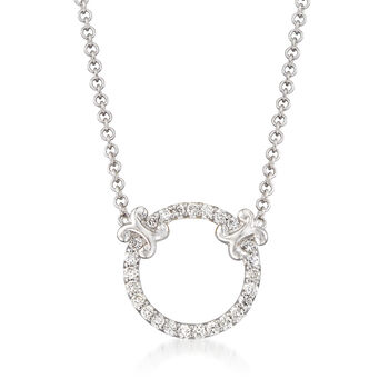 http://www.ross-simons.com - Gabriel Designs .13ct t.w. Diamond Open Circle Necklace in Gold