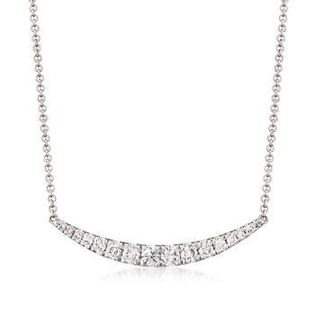 http://www.ross-simons.com - Gabriel Designs .49ct t.w. Diamond Curve Bar Necklace in Gold