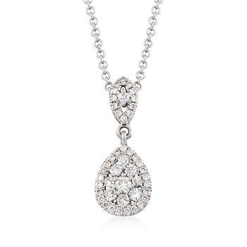 http://www.ross-simons.com - Gabriel Designs .33 ct. t.w. Diamond Drop Necklace in 14kt White Gold