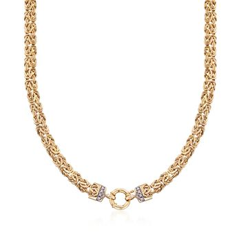 http://www.ross-simons.com - 14kt Yellow Gold Byzantine Necklace with Diamond Accents
