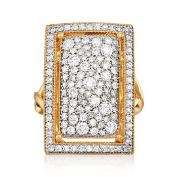 http://www.ross-simons.com - 1.52 ct. t.w. Pave Diamond Rectangular Ring in 14kt Yellow Gold