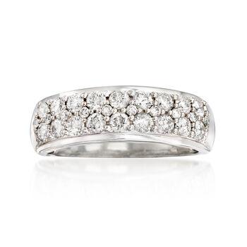 http://www.ross-simons.com - 1.00 ct. t.w. Diamond Multi-Row Ring in 14kt White Gold