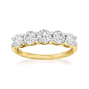 http://www.ross-simons.com - 1.50 ct. t.w. Diamond Five-Stone Ring in 14kt Yellow Gold