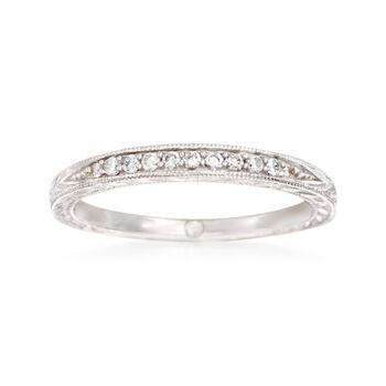 http://www.ross-simons.com - Gabriel Designs .10 ct. t.w. Diamond Wedding Band in 14kt White Gold