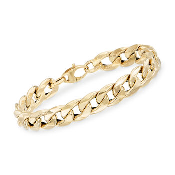 http://www.ross-simons.com - Italian 14kt Yellow Gold Curb-Link Bracelet