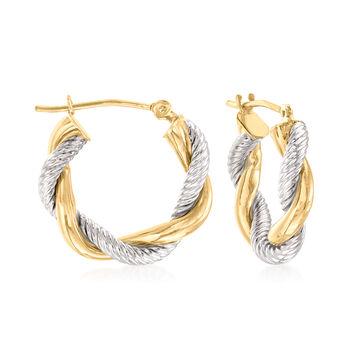 http://www.ross-simons.com - 14kt Two-Tone Gold Twisted Hoop Earrings