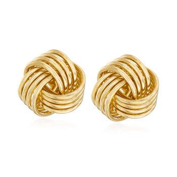 http://www.ross-simons.com - 14kt Yellow Gold Love Knot Stud Earrings