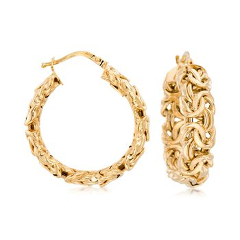 http://www.ross-simons.com - Italian 14kt Yellow Gold Byzantine Hoop Earrings