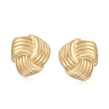 http://www.ross-simons.com - Italian 14kt Yellow Gold Love Knot Earrings