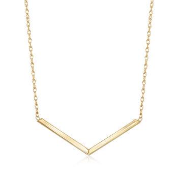 http://www.ross-simons.com - 14kt Yellow Gold Chevron Necklace