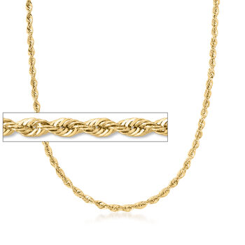 http://www.ross-simons.com - 4mm 14kt Yellow Gold Rope Chain Necklace