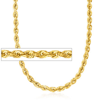 http://www.ross-simons.com - 5.5mm 14kt Yellow Gold Rope Chain Necklace