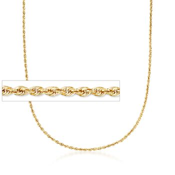 http://www.ross-simons.com - 3.2mm 14kt Yellow Gold Rope Chain Necklace