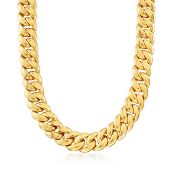 http://www.ross-simons.com - Italian 14kt Yellow Gold Curb-Link Necklace