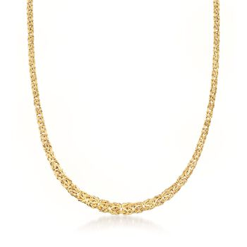 http://www.ross-simons.com - 14kt Yellow Gold Graduated Byzantine Necklace