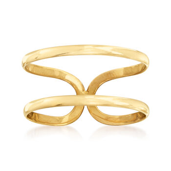 http://www.ross-simons.com - 14kt Yellow Gold Two-Band Open-Space Ring