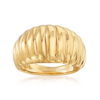 http://www.ross-simons.com - Italian 18kt Yellow Gold Ribbed Dome Ring