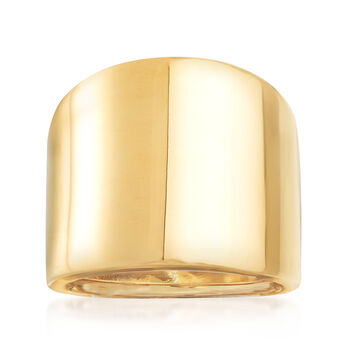 http://www.ross-simons.com - Italian 14kt Yellow Gold Wide Polished Ring